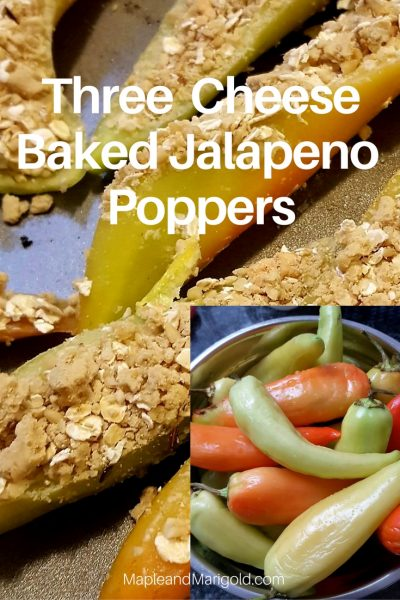 Three cheese Baked Jalapeno Poppers | Vegetarian Appetizers | Entertaining | Snacks and Appetizers | Spicy Food  MapleandMarigold.com