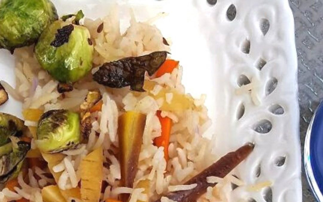 Comfort Cooking: Vegetable Pilaf Topped With Crispy Brussels Sprouts
