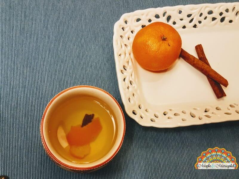 How to use orange peel to make a tea | natural remedy for colds and flus | Maple and Marigold