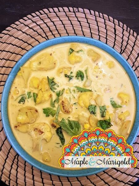 Easy coconut curry | Quick and easy weeknight meals | Comfort food | Cauliflower and Corn Coconut Curry
