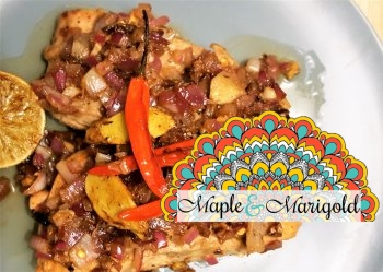 Salmon with Indian Masala onions | Easy Salmon Recipe | Seafood | Canada 150 recipes | Maple and Marigold